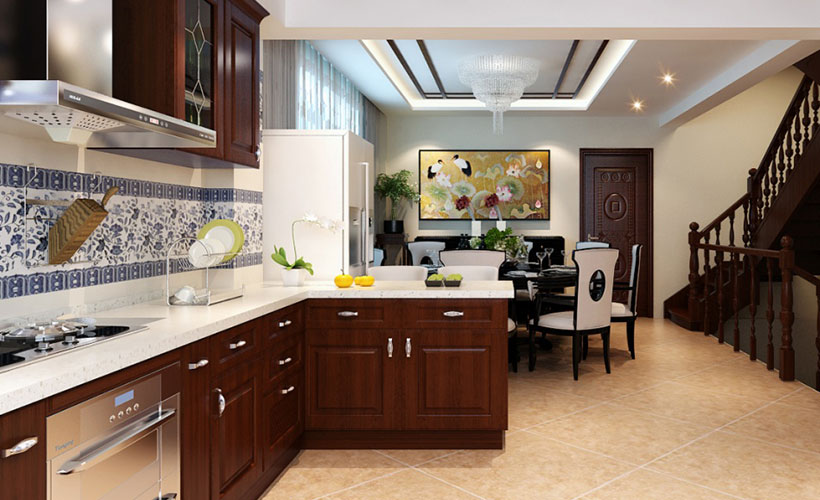 Oriental Solid Wood Classic Kitchen Cabinet Design