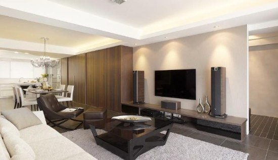 contemporary interior design look apply by wood color laminate cabinets wardrobes
