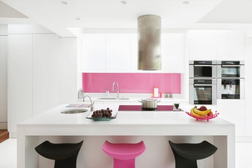 pink colour favorite kitchen design